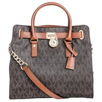 Michael Kors Hamilton Large Logo Tote Brown Handbag