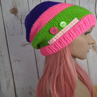 Women's hand knit slouch beanie, bright pink, purple and green with buttons