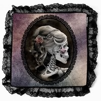 Unique Gothic Inspired Victorian Style Black Lace Cameo Skull Purple Decorative Cushion Case