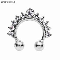 LUBINGSHINE Fake Septum Stainless Steel Circular Horseshoe Nose Ring Piercing Crystal Medical Titanium Hoop Body Jewelry O125