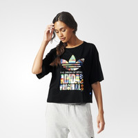 """Adidas"" Retro Multicolor Clover Letter Print Round Neck Short Sleeve T-shirt"