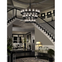 Justice Design Group WGL-8713-10-SWCB-DBRZ Wire Glass Dark Bronze 36-Light Flat Rim Cylinder Three-Tier Ring Inverted Chandelier - (In Dark Bronze)