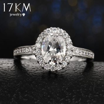 17KM Fashion Rose Gold Color Hollow out Crystal Engagement Rings For Women Silver Color Love Wedding Party Ring Anillos Mujer
