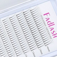 Volume Lash Extensions Premade 3D C Curl 0.10mm 8~14mm Trio Individual Eyelashes Clusters W Silk Synthetic Russian Volume Eyelash Extensions Knot Free Flare Lashes by FADLASH