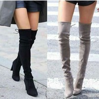Women Casual Thigh High Winter Female  Faux Suede Over Knee  Ladies High Heels Boots