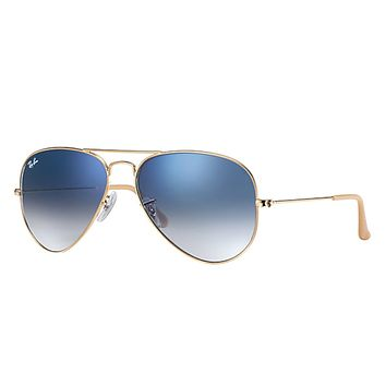 Cheap NEW Genuine Ray-Ban RB3025-001/3F Unisex Gold AVIATOR GRADIENT Blue Sunglasses outlet