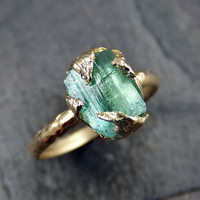 Raw Sea Green Tourmaline Gold Ring Rough Uncut Gemstone Rare color tourmaline recycled 14k Size 6 1/2 stacking cocktail statement byAngeline