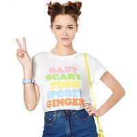 White Spice Girls Name Baby,Scary.Posh, Sport, Ginger Graphic  Crop Tee
