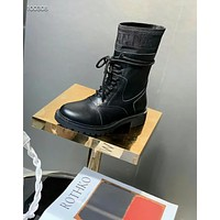 dior womens men black leather side zip lace up ankle boots shoes high boots