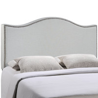 Curl Full Nailhead Upholstered Headboard in Gray