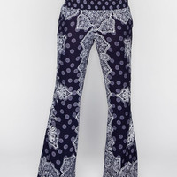 Patrons Of Peace Paisley Print Womens Pants Navy  In Sizes