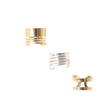 Gold and Silver Wire Ear Cuffs