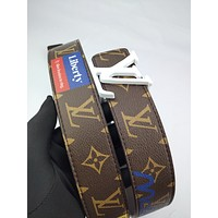 LV Louis Vuitton Women's Classic Casual New Leather Logo Buckle Belt 3#