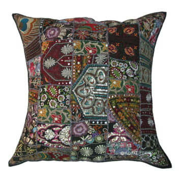 "24"" Black Vintage Patchwork Embroidered Throw Pillow Cushion Case Sham"