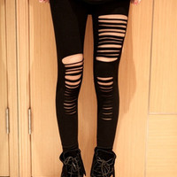 women's stylish ripped holes sexy leggings  (Size: One Size, Color: Black) [7642035334]