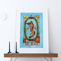 Tarot Print The World Retro Illustration Art Rider Print Vintage Giclee on Cotton Canvas or Paper Canvas Poster Wall Decor