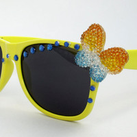 SALE Vintage wayfarer style Butterfly rhinestones sunglasses Pop art yellow eyewear