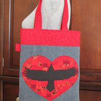 Recycled Denim and Raven, Patchwork Heart Applique Tote Bag