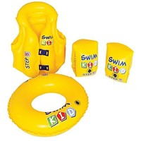 By PoolCentral 4-Piece Inflatable Yellow Swim Kid Children's Swimming Pool Float Learning Set