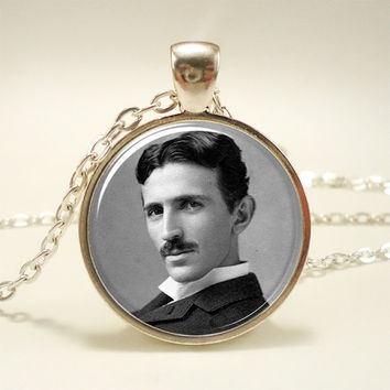 Nikola Tesla Necklace, Famous Inventor Inspirational Jewelry (1494S1IN)