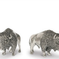 Pewter Bison Salt and Pepper Shaker Set