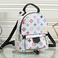 Louis Vuitton LV Classic Woman Men Leather Travel Bookbag Shoulder Bag Mini Backpack White