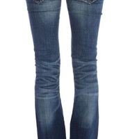 Miss Me Blue and Gold Stitch Bootcut Jeans JS5014B99