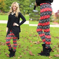 All I Want For Christmas Patterned Leggings in Red