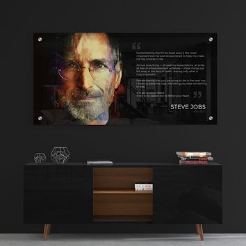 Steve Jobs Acrylic Wall Art Panel with Aluminum Stand-Off Mounts (Shipping Included)