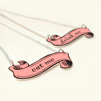 Alice In Wonderland Inspired Necklace Fantasy Charm Pendant Pink Black Scroll Ribbon Drink Me Eat Me Silver Chain - You Choose
