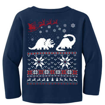 Ugly Christmas sweater -- Dinosaur t shirt and Santa Claus - long sleeve t shirt - kids toddler youth sizes