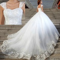 White Beaded Formal Royal Church Wedding Bridal Gowns Dresses on Sale SKU-119078