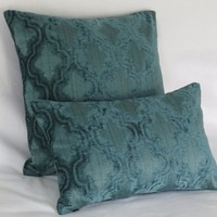 "Teal Blue Chenille Pillow Cover, 17"" Square, Textured Ogee Pattern, Soft and Velvety"