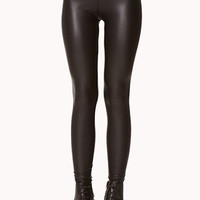 Coated Faux Leather Leggings - Black