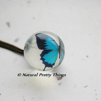Butterfly Globe Necklace Blue Ball Nature Inspired Transparent Resin Ball Magical Fantasy