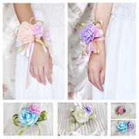 Fashion Artificial Brides Bridesmaid Wedding Bouquet Hand Flowers Wrist Corsages = 1929921924
