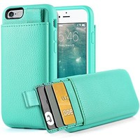 iPhone 6S Wallet Case, iPhone 6 Leather Case, LAMEEKU Shockproof Wallet cover Leather Wallet case with Credit Card Slot Holder, Protective cover For Apple iPhone 6 / 6S 4.7inch Mint Green