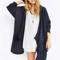 Silence + Noise Hooded Cardigan- Charcoal