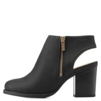 Black Sling Back Ankle Booties by Charlotte Russe