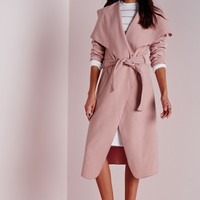 Missguided - Belted Waterfall Coat Mauve