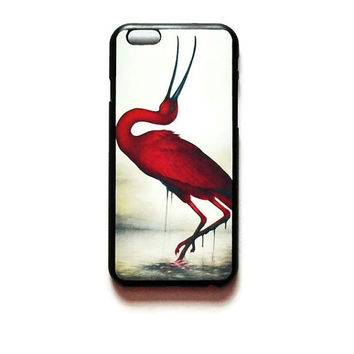 iPhone 6 Case Red Crane Painting iPhone 6 Hard Case Crane Watercolor Back Cover For iPhone 6 Red Crane Bird Slim Design Case 6351