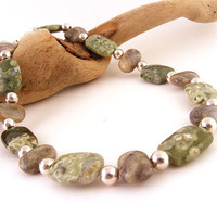 Green Rhyolite Gemstone Necklace with Agate and Sterling Silver