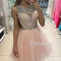 Custom made pink tulle short prom dress, pink homecoming dress - 24prom