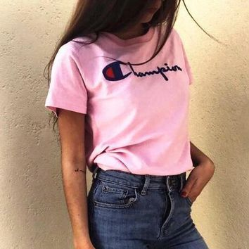 champion :letters print Couple T-shirt top Pink F