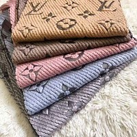 LV men's and women's fashion cashmere knitted embroidery printed fringed scarf