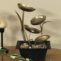 Four Leaf Cascading Tabletop Fountain with LED Lights
