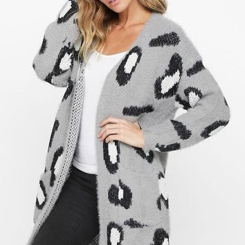 Leopard Print Open Front Cardigan - Heather Grey ONLY 2 SMALLS LEFT