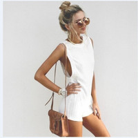 Pure white Sleeveless Fashion Rompers