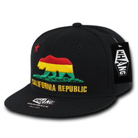 California Republic Rasta Cali State Bear Flag Snapback Hat by Whang