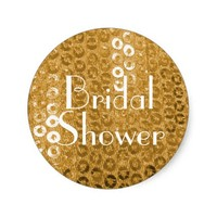 Chic Gold Paillettes Bridal Shower Stickers